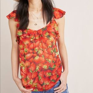 NEW Anthropologie Ruffled Strawberry Top